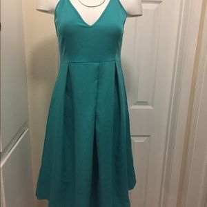 Turquoise Mid Length Classic Spaghetti Strap Dress